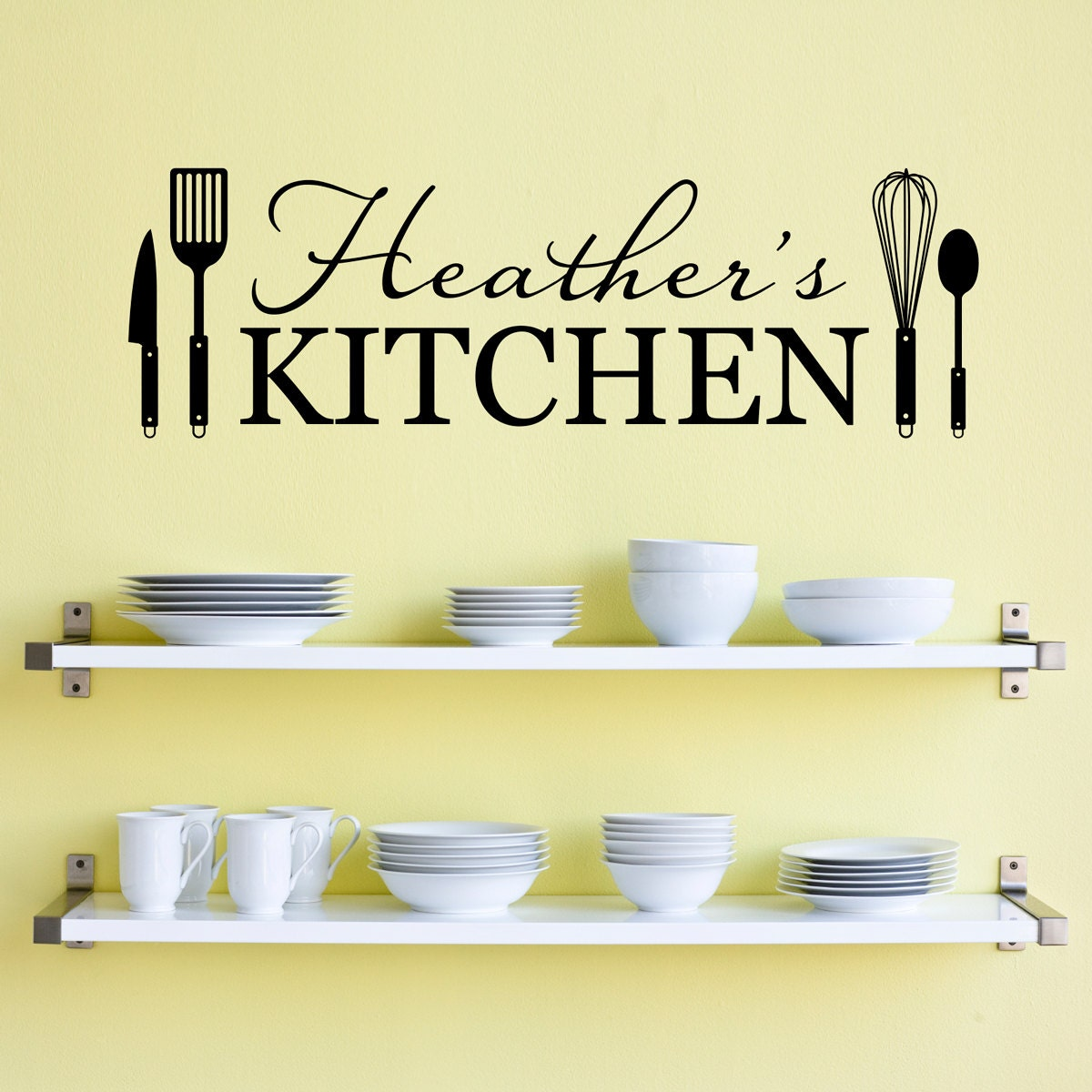 Personalized name kitchen wall decal kitchen utensils wall - Kitchen wall stickers decor ...