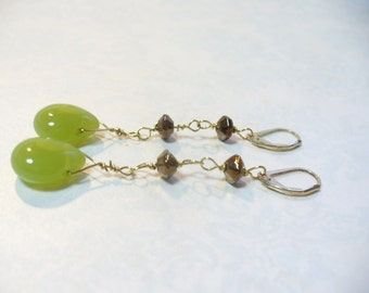 wire-wrapped green chrysoprase briolette - long dangle earrings with gold-filled lever-back hooks.