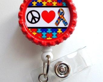 Peace Love and Autism Awareness Ribbon - ID Badge Reel - Teacher Badge Reel - Office Personnel Badge Reel - Nursing Badge - Nurse Gift - RN
