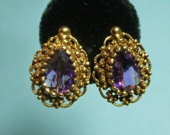 SALE 14k and Amethyst Earrings 1.7 ct