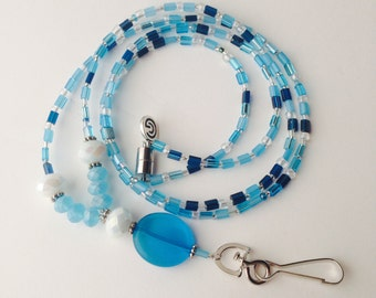 Grateful Bead Prayer Lanyard OVAL Sky Blue Teacher Nurse Magnetic Gratitude Accessory Gift Charm Grateful Thankful