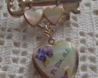 Vintage Brooch Key To My Heart Sweetheart Jewelry Ft. Dix, NJ