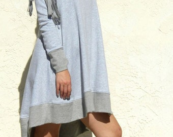 ArtAffect SWEATSHIRT DRESS with Pocket, Long Sleeve Flare Sweater Dress, Winter Dress -Gray