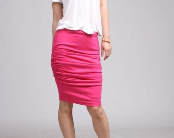Shirred Jersey Skirt- Hot Pink