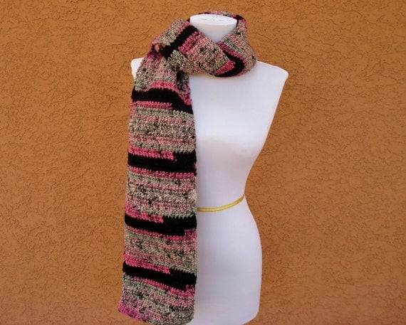 "Pink Black Grey Scarf - ""Surprize Stripes"" - Striped Scarf for Women - Crochet, Crocheted Scarf - Hoooked Scarves - Ready To Ship"