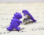 Purple T-Rex Earrings, Dinosaur Earrings, Tyrannosaurus Rex Studs Cute T Rex Posts on Stainless Steel, Purple Dinos Jewelry