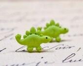 Green Dinosaur Earrings, Stegosaurus Studs, Cute Lime Green Dino Posts on Stainless Steel, Sensitive Ears Jewelry