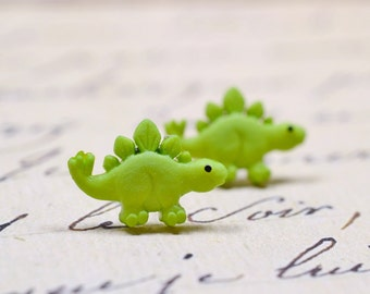 Green Dinosaur Earrings, Stegosaurus Studs, Cute Lime Green Dino Posts on Stainless Steel, Sensitive Ears Jewelry