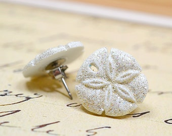 White Sand Dollar Earrings, White Glitter Sand Dollars, Beach Earrings, Nautical Earrings, Beach Wedding Jewelry, White Nautical Jewelry