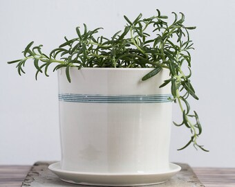 Large Striped Porcelain Planter with Drainage