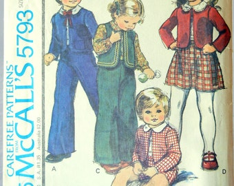 Folk Style Unisex Toddler Dress Clothes Sewing Pattern, McCall's Pattern 5793, Toddler Size 1, 1977
