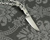 Miniature Chef Knife Necklace, Silver Knife Charm on a Silver Cable Chain