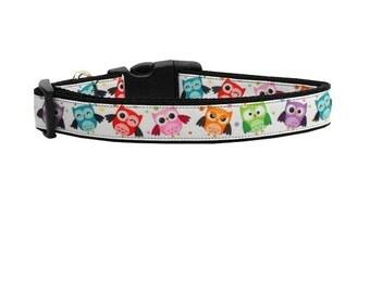 Bright Owls Nylon Dog Collar - Side Release - Size Medium