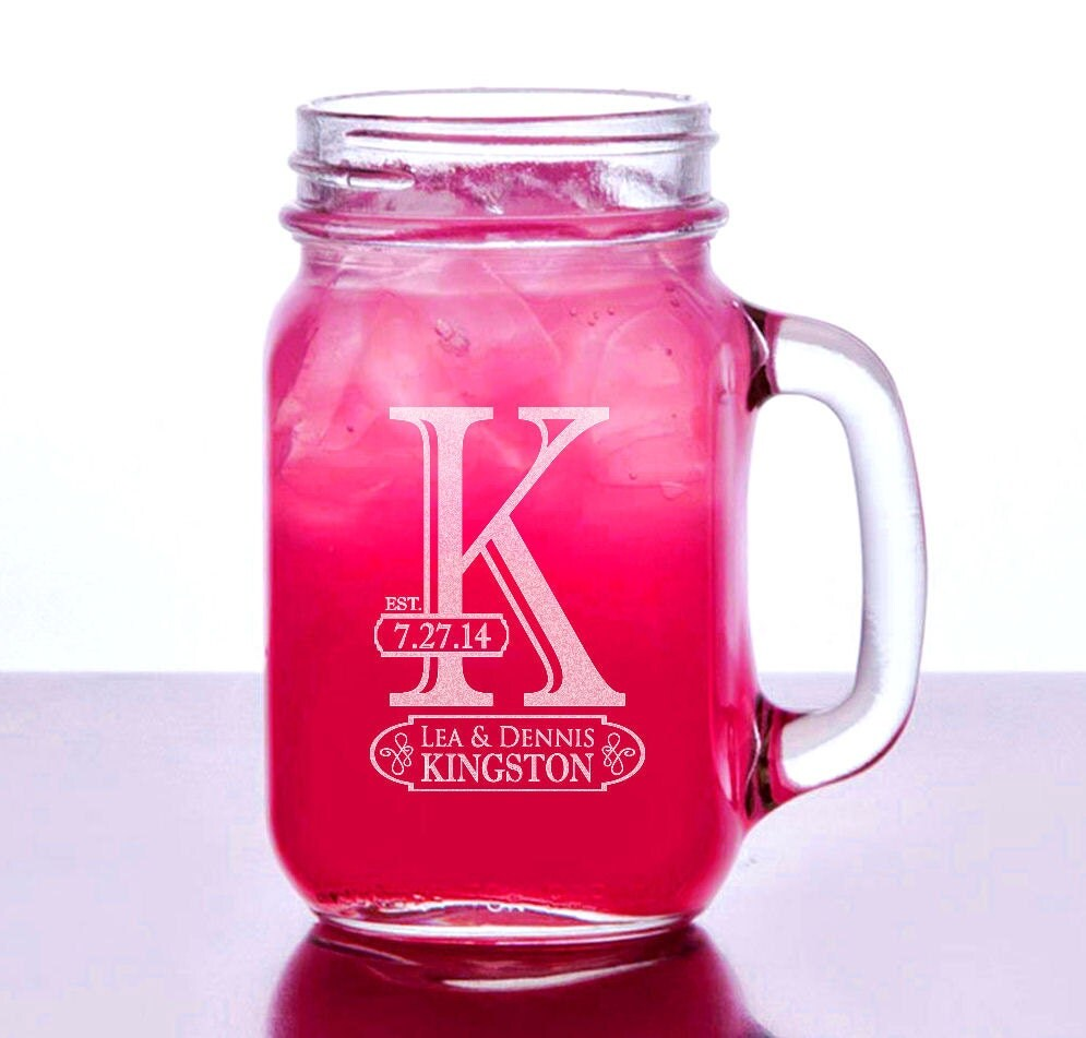Initial mason jar wedding glasses custom name date wedding - Mason jar goblets ...