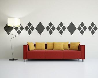 Diamond Decal, Geometric Wall Decal, Argyle Decal, Argyle Wall Pattern, Dorm Decor, Modern Nursery Decor, Mid Century Modern