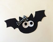 DIY Iron On Halloween Applique - Halloween Flying Bat Applique - Bow Included [FBA01-]
