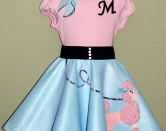 New Glrls Size Small 3pc Baby blue and Pink Patty poodle skirt outfit