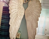 "Wood engraved Angel wings, rustic home decor shabby chic angel wings From sizes 6"" up to 35"" Choose size in the drop down menus"