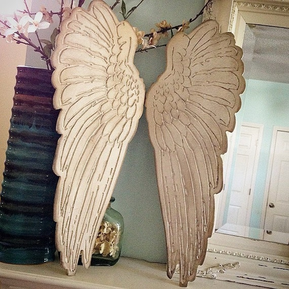 Wood Engraved Angel Wings Set Of Two. Rustic Home Decor