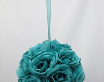 Turquoise Blue Silk Rose Pomander