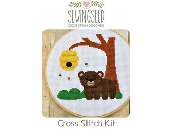 Bear Cub in the Forest Cross Stitch Kit, DIY Kit, Embroidery Kit, DIY Nursery Decor