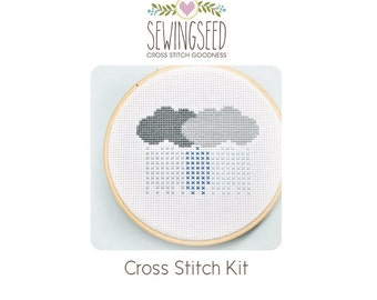 Rain Clouds Cross Stitch Kit, Stormy Weather, DIY Kit, Easy Embroidery Kit, Perfect for a Beginner