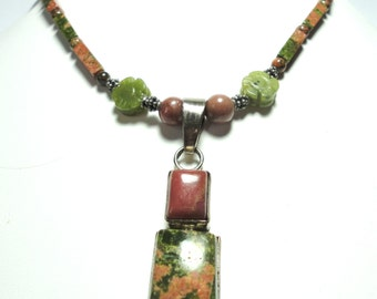 Unakite Necklace with Pink Rhodonite and Olive Jade with Sterling