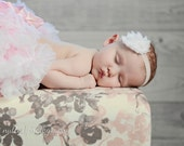 White Baby Headband on Ballet pink band, Headband, Baby Girl Headband, Shabby Chic Flower Headband