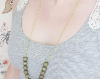 Wood Necklace Neon Yellow