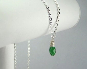 May Birthstone Necklace Sterling Silver Option Personalization Available