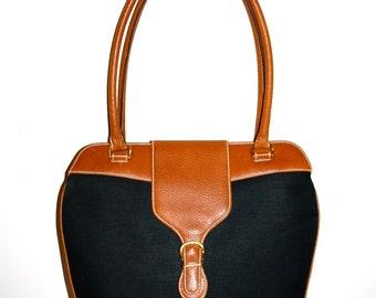 GUCCI Vintage Handbag Brown Leather Black Canvas Briefcase Tote - AUTHENTIC -