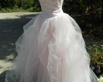 pink tulle princess ballgown wedding dress prom dress beaded with pearls