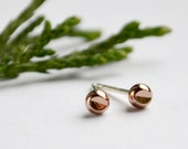 Rose Gold Earrings - Tiny Studs - Dainty Cut Out Geometric Jewelry - Petite Stud Earrings - Free Shipping US