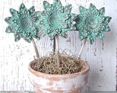Vintage Spoon Polymer Clay Sunflower Garden Art Planter Decoration, Sunflower Plant Stake, Gardener Gift, Rustic Verdigris Patina Finish