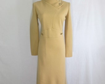 Vintage 1970's Cosplay Trekkie Costume Beige Knit Dress-Uhura Outfit- SZ LG