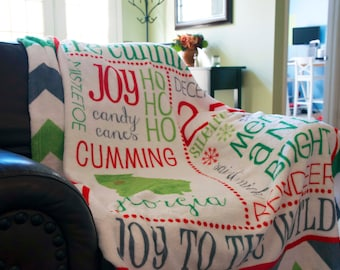 Personalized Christmas Blanket - Subway Art