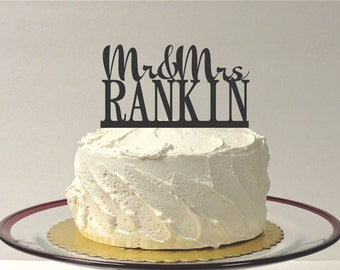 MADE In USA, Personalized Wedding Cake, Custom Cake Topper, Mr and Mrs Cake Topper YOUR Last Name Custom Monogram Family Name Wedding Topper