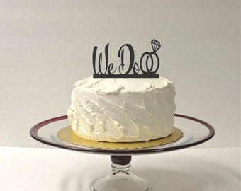 MADE In USA, We Do Wedding Cake Topper with Wedding Ring Design, Acrylic Wedding Topper, Classic Wedding Cake Topper Beautiful Topper