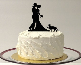 MADE In USA Cat Bride Groom Silhouette Wedding Cake Topper With Pet