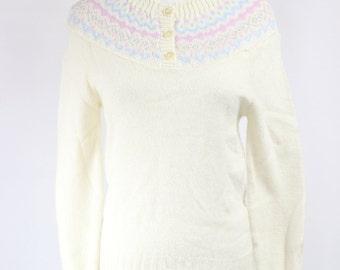 Cream Fair Isle Acrylic Sweater -- Sz Sm