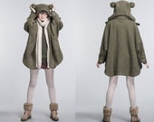 wool loose cape jacket long coat thick Army Green