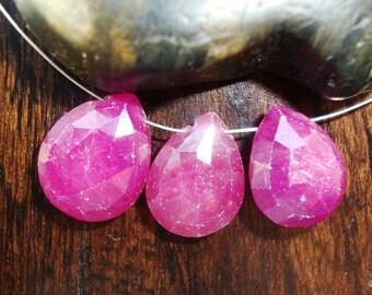 Pink Sapphire Micro Faceted Pear Briolette 3 pcs, 13-15x10-11x5mm, m27-3