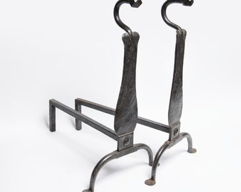 Forged andirons  firedogs -Wrought iron french style 18th century