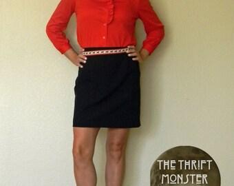 Secretary Blouse Ruffled Long Sleeve Shirt 80s Dress Shirt