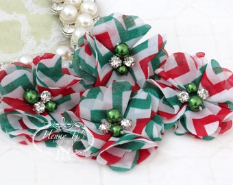 NEW: 4 pcs Aubrey Red Green CHEVRON Patterned - Soft Chiffon with pearls and rhinestones Layered Small Fabric Flowers, Hair accessories
