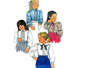 80s Girls Steampunk Blouse Pattern Simplicity 7013 Ruffled Romantic Frills Vintage Sewing Pattern Size 4 5 & 6 ALL SIZES