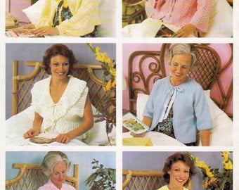 Patons 520 Womens 1970s Bed Jackets Cardigans Capelets Patterns Book Knitting Crochet Patterns ORIGINALS NOT PDF