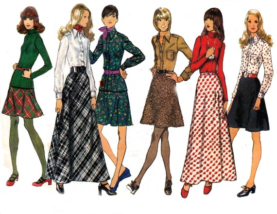 70s bias maxi skirt blouse pattern by allthepreciousthings
