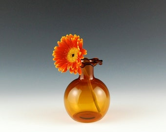 Yellow Vase with Ruffled Lip, Hand Blown Glass