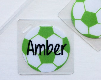 Backpack Bag Tag Soccer Name Tag Soccer Party Favor Personalized Soccer Bag Tag Soccer Baby Shower Favor Red Bag Tag Soccer Mom Bag Tag